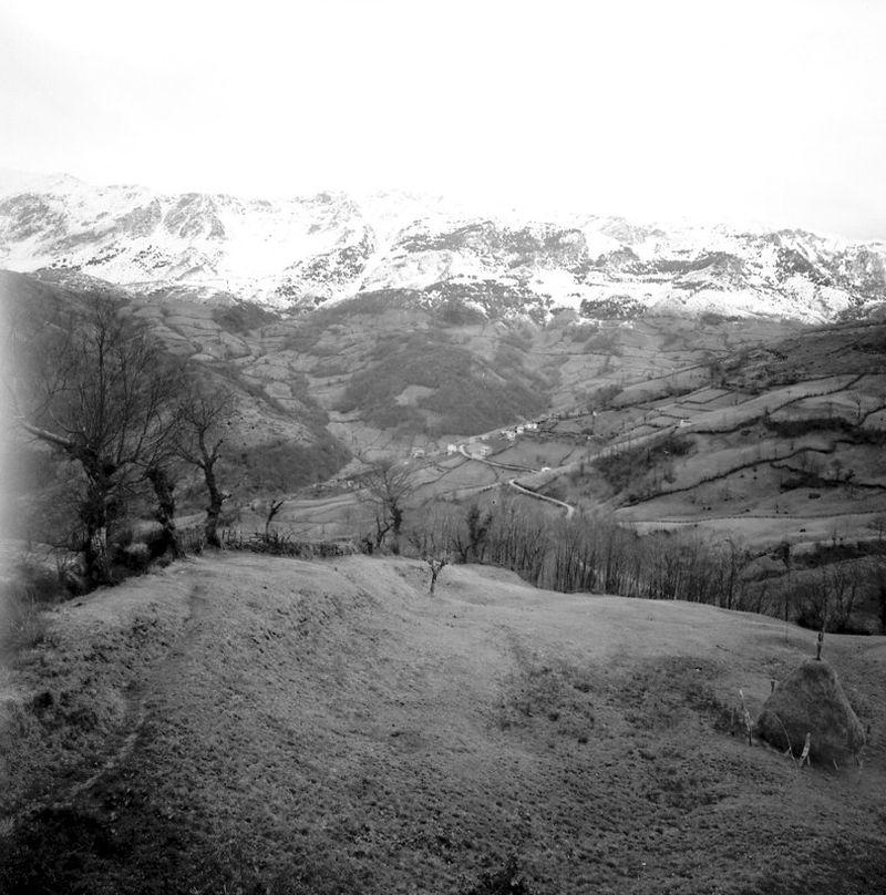 Pueblo de Grandiella (Riosa) con la Sierra del Aramo al fondo. Crédito de imagen: archivo de José Ramón Lueje, Pueblo de Asturias (Gijón).